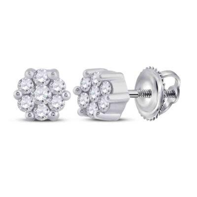 Sterling Silver Womens Round Diamond Flower Cluster Stud Earrings 1/6 Cttw