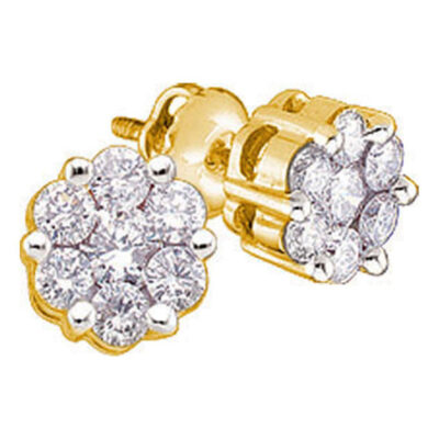 Yellow-tone Sterling Silver Womens Round Diamond Flower Cluster Earrings 1/4 Cttw