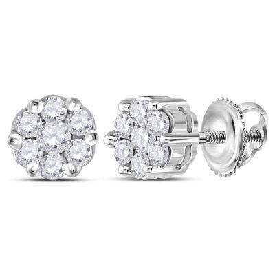 Sterling Silver Womens Round Diamond Flower Cluster Earrings 1/4 Cttw