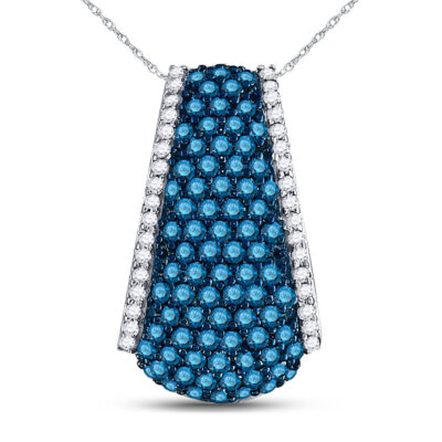 10kt White Gold Womens Round Blue Color Enhanced Diamond Fashion Pendant 1 Cttw