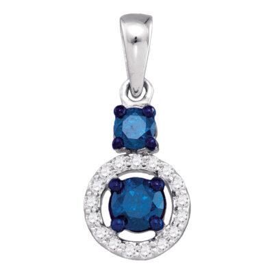 10kt White Gold Womens Round Blue Color Enhanced Diamond Solitaire Circle Pendant 1/2 Cttw