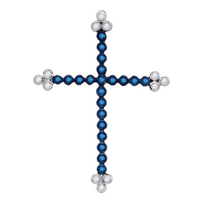 10kt White Gold Womens Round Blue Color Enhanced Diamond Cross Pendant 1/3 Cttw