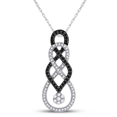 10kt White Gold Womens Round Black Color Enhanced Diamond Cluster Pendant 1/3 Cttw