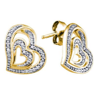 Yellow-tone Sterling Silver Womens Round Diamond Heart Stud Earrings 1/20 Cttw