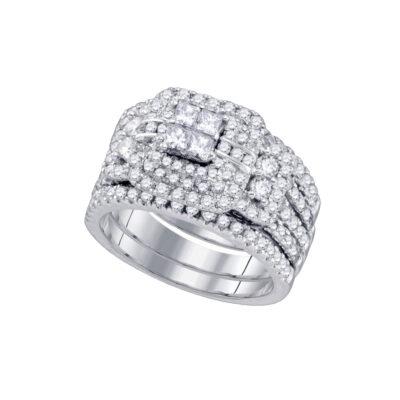14kt White Gold Diamond Cluster Wedding Bridal Ring Set 2 Cttw