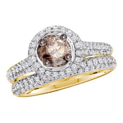 14kt Yellow Gold Womens Round Brown Diamond Bridal Wedding Ring Band Set Size 5