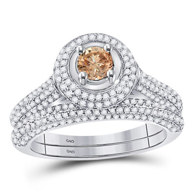 14k White Gold Brown Round Diamond Solitaire Bridal Wedding Engagement Size 8 Set 1-1/4 Cttw