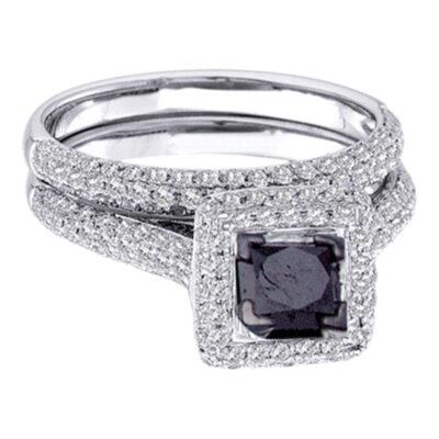 14kt White Gold Princess Black Color Enhanced Diamond Bridal Wedding Set 1-1/4 Cttw Size 5
