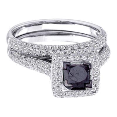 14kt White Gold Princess Black Color Enhanced Diamond Bridal Wedding Set 1-1/4 Cttw Size 6