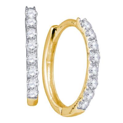 10kt Yellow Gold Womens Round Diamond Hoop Earrings 1/3 Cttw