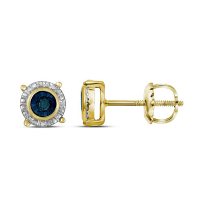Yellow-tone Sterling Silver Womens Round Blue Color Enhanced Diamond Stud Earrings 1/10 Cttw