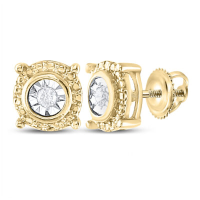 Yellow-tone Sterling Silver Womens Round Diamond Stud Earrings 1/20 Cttw