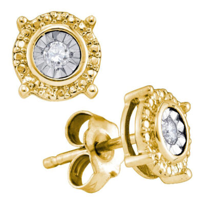 Yellow-tone Sterling Silver Womens Round Diamond Solitaire Circle Stud Earrings 1/10 Cttw