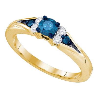 10kt Yellow Gold Round Blue Color Enhanced Diamond Bridal Wedding Ring 1/2 Cttw
