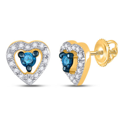 10kt Yellow Gold Womens Round Blue Color Enhanced Diamond Heart Earrings 1/5 Cttw