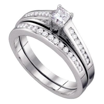 10kt White Gold Princess Diamond Bridal Wedding Ring Band Set 1/2 Cttw Size 5
