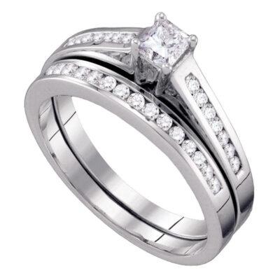 10kt White Gold Princess Diamond Bridal Wedding Ring Band Set 1/2 Cttw Size 8
