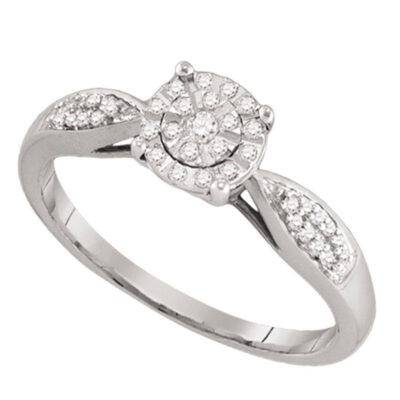 10k White Gold Round Cluster Diamond Bridal Wedding Engagement Ring 1/6 Cttw