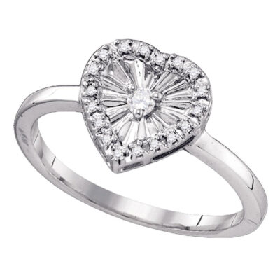 Sterling Silver Womens Round Diamond Framed Heart Ring 1/10 Cttw