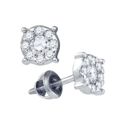14kt White Gold Womens Round Diamond Stud Earrings 1/2 Cttw
