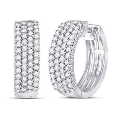 10kt White Gold Womens Round Diamond Huggie Earrings 2 Cttw