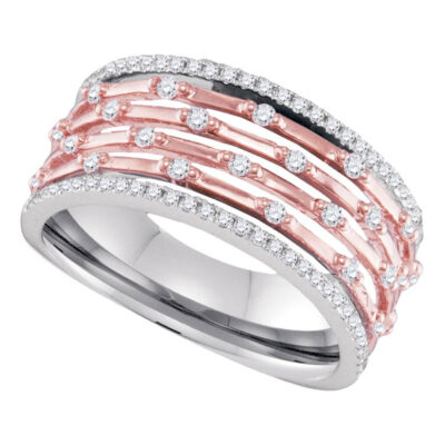 10kt Two-tone Gold Womens Round Diamond Band Ring 3/8 Cttw