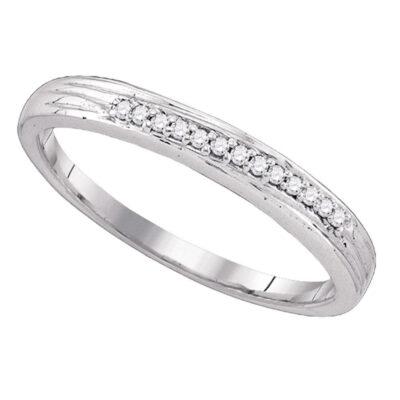 10k White Gold Round Pave-set Diamond Womens Simple 2mm Wedding Band 1/6 Cttw