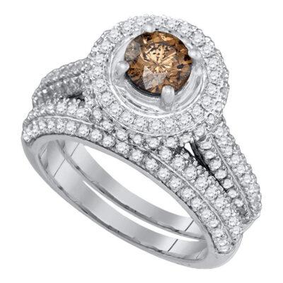 14kt White Gold Womens Round Brown Diamond Halo Bridal Wedding Ring Band Set 2 Cttw