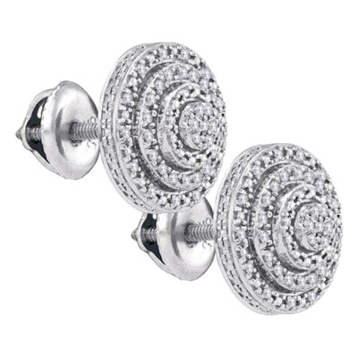 Sterling Silver Womens Round Diamond Circle Cluster Earrings 1/10 Cttw