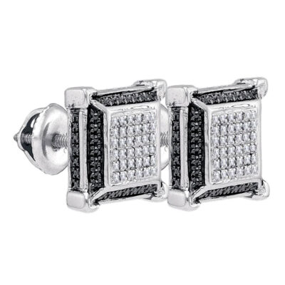 Sterling Silver Mens Round Diamond 3D Square Earrings 1/8 Cttw