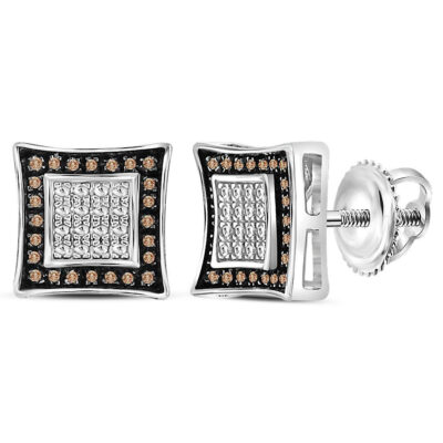 Sterling Silver Mens Round Brown Diamond Square Kite Stud Earrings .03 Cttw