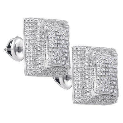 Sterling Silver Mens Round Diamond Square Dome Cluster Earrings 1/8 Cttw