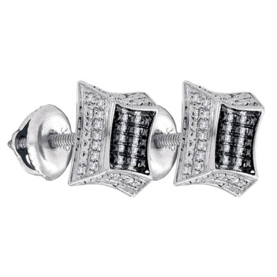 Sterling Silver Mens Round Diamond Kite Square Earrings 1/8 Cttw
