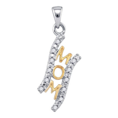 Sterling Silver Womens Round Diamond 2-tone Mom Mother Pendant 1/10 Cttw