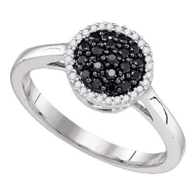 10k White Gold Womens Black Color Enhanced Diamond Halo Cluster Ring 1/4 Cttw