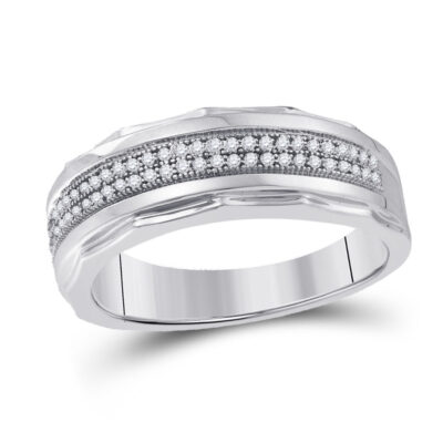 Sterling Silver Mens Round Diamond Wedding Pave Band Ring 1/5 Cttw