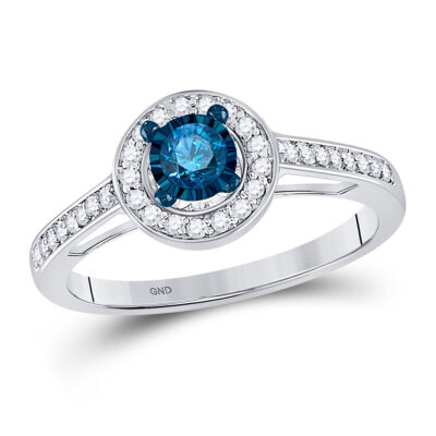 10kt White Gold Round Blue Color Enhanced Diamond Solitaire Bridal Wedding Ring 3/8 Cttw