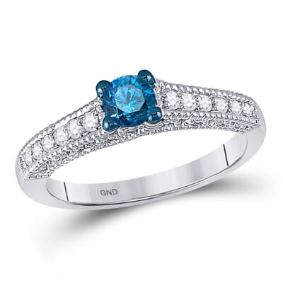 10kt White Gold Round Blue Color Enhanced Diamond Solitaire Bridal Wedding Ring 1/2 Cttw