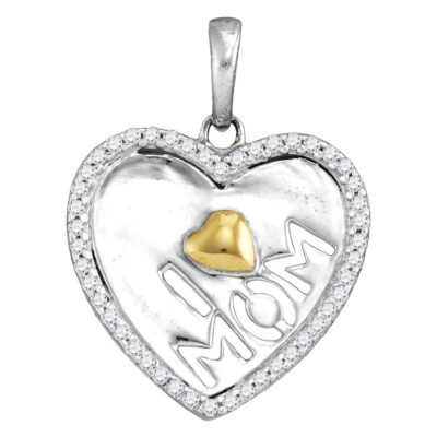 Sterling Silver Womens Round Diamond I Love Mom Heart Pendant 1/6 Cttw