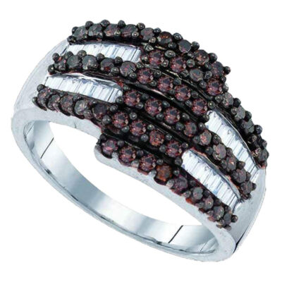 Sterling Silver Womens Round Brown Diamond Fashion Ring 1 Cttw