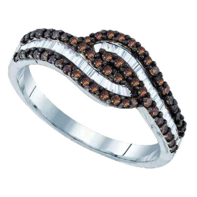 Sterling Silver Womens Round Brown Diamond Band Ring 1/2 Cttw