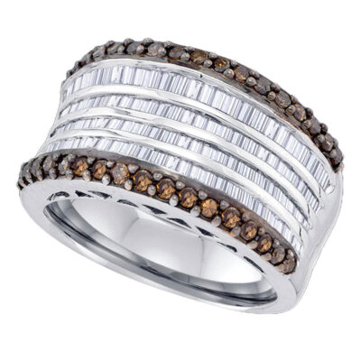 Sterling Silver Womens Round Brown Diamond Band Ring 1-5/8 Cttw