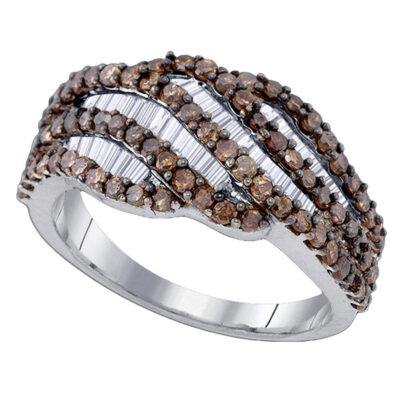 Sterling Silver Womens Round Brown Diamond Fashion Ring 1-1/4 Cttw