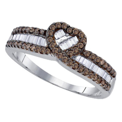 Sterling Silver Womens Round Brown Diamond Heart Ring 5/8 Cttw