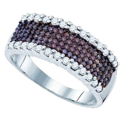 Sterling Silver Womens Round Brown Diamond Band Ring 5/8 Cttw