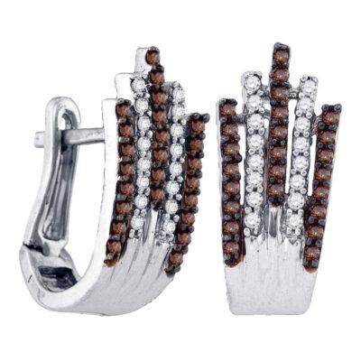 Sterling Silver Womens Round Brown Diamond Hoop Earrings 1/2 Cttw