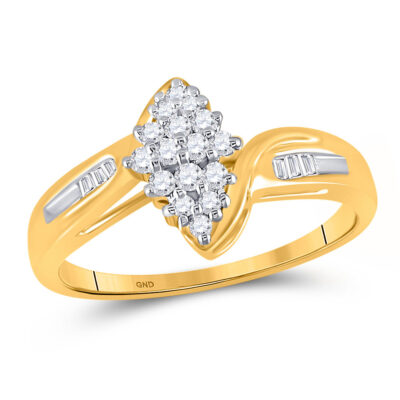 10kt Yellow Gold Womens Round Diamond Oval Cluster Baguette Ring 1/4 Cttw