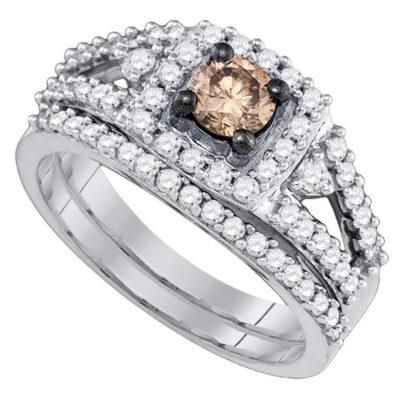 14kt White Gold Womens Round Brown Diamond Bridal Wedding Ring Band Set 1 Cttw