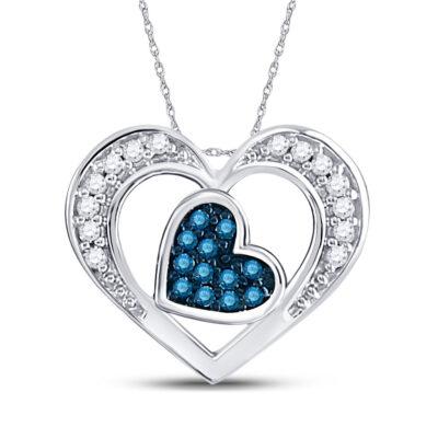 10kt White Gold Womens Round Blue Color Enhanced Diamond Heart Pendant 1/20 Cttw