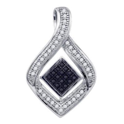 10kt White Gold Womens Round Black Color Enhanced Diamond Fashion Pendant 1/6 Cttw